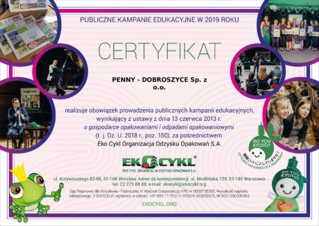 Certyfikat PKE Penny Dobroszyce